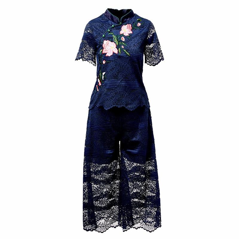 2018 Mode De Manches Bas Crop Pantalon D'été Pièces Courtes rose Brodé Et Large En 2 Costume Casaul Ensemble Bleu Dentelle Femmes Top Lâche QCxeorWdB