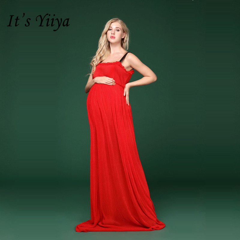 It's YiiYa Red Maternity Dress Summer Pregnant Shooting Photo Spaghetti Strap Long Maternity Dresses H162