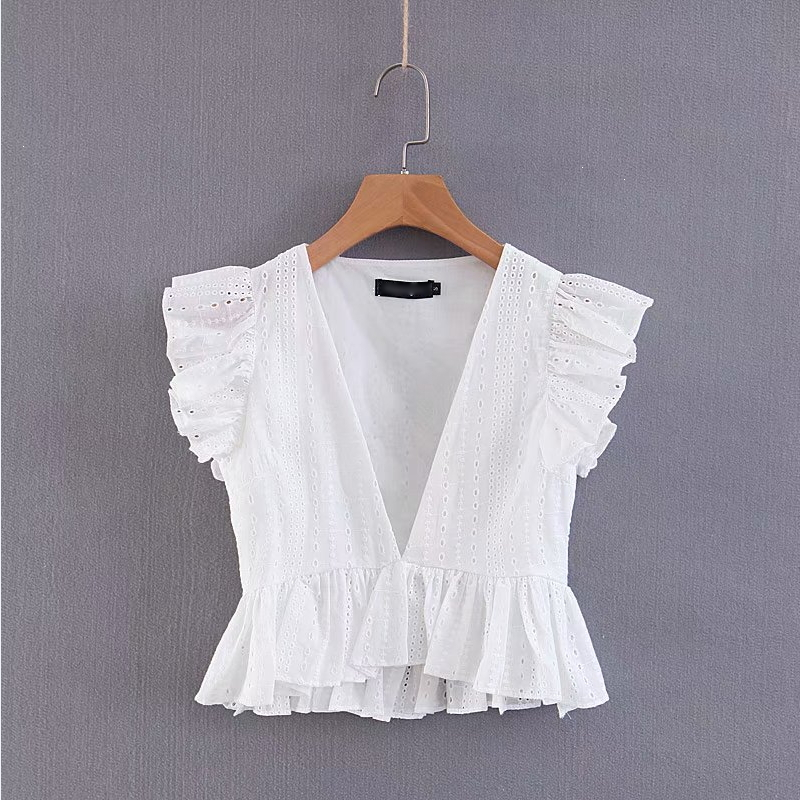 Women Sexy Deep V Neck Hollow Out Casual Smock White Lace Blouse Shirt Women Pleated Ruffles Blusas Chic Femininas Tops LS2951