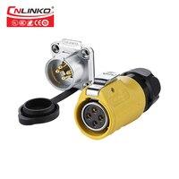 Cnlinko güç toptan dairesel konnektör tedarikçisi fiş ve prizler sarı yuvarlak 4 Pin güç konektörü|Konnektörler|   -