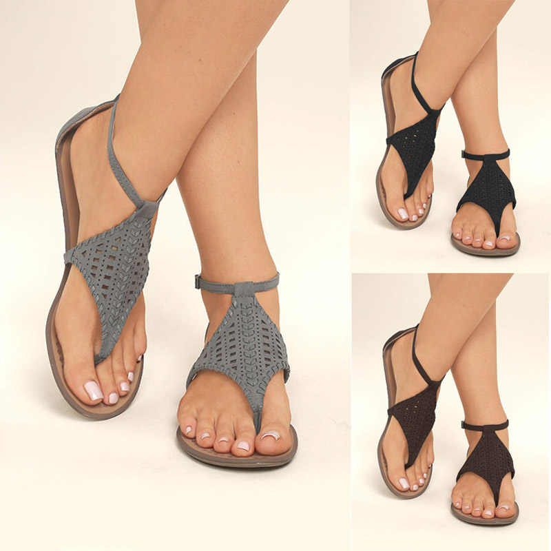 8ff398538 ... 2018 Summer Women s Shoes Flat Comfort Hollowing Thong Sandals Size 35-  ...