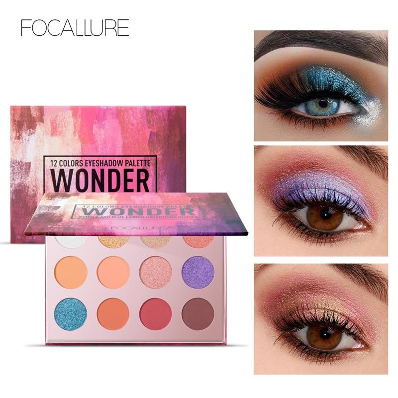 FOCALLURE 12 Cores Da Sombra Matte Shimmer Glitter Sombra de Olho Paleta de Maquiagem Profissional Completa Make Up