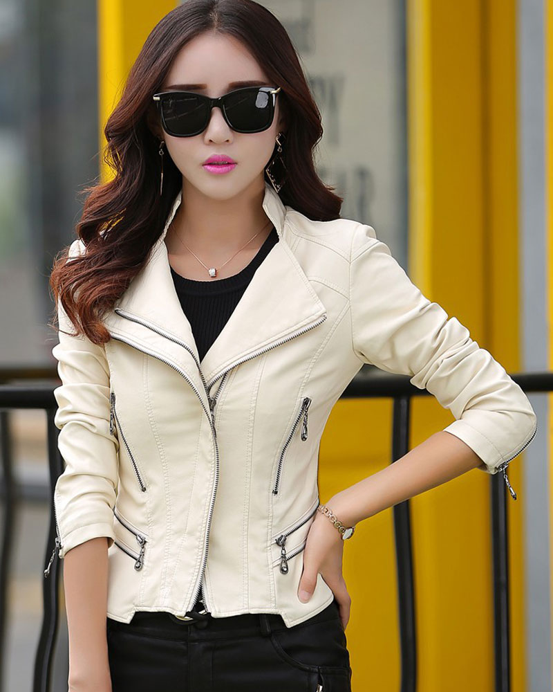 Women Pu Leather Coat Ladies Synthetic Leather Jacket Motorcyle Biker New Slim Full Sleeve High Quality Zipper Faux Jackets 2018