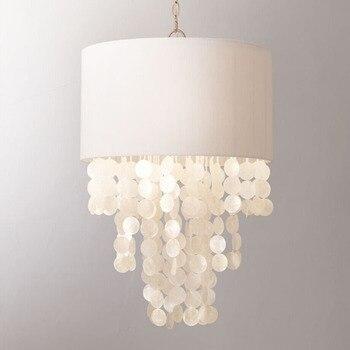 Amerikaanse landelijke middellandse zee handgemaakte shell linnen led e14 hanglamp voor slaapkamer eetkamer studie prinses kamer dia 46 cm