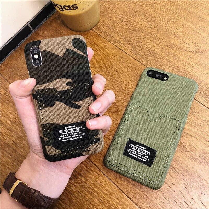 PDQ Moda Camuflagem Lona Caso de Telefone Para iphone Caso Para iphone XR XS Max X