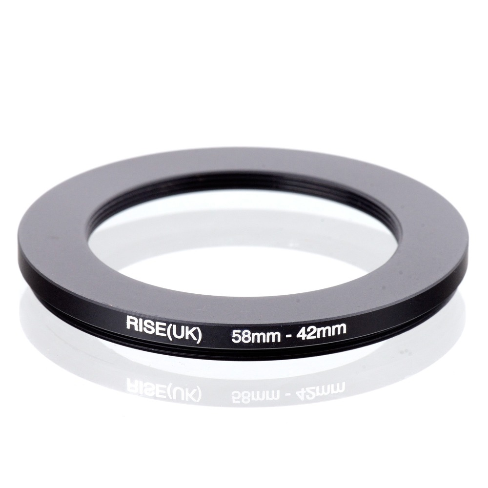 RISE(UK) 58mm-42mm 58-42mm 58 to 42 Step down Ring Filter Adapter black free shipping