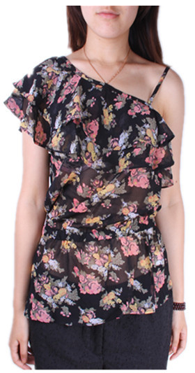 2012sg fashion plus size clothing summer female sexy one shoulder oblique spaghetti strap chiffon floral print top