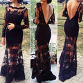 2016 fashion Sexy women black dress lace fitted dress Slit Backless Crochet Floor Maxi party dresses long dress Free Shipping