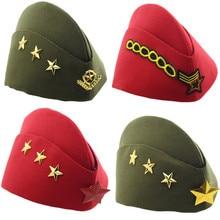 Que No Chuveiro Cap Estrela Vermelha de Algodão da Marinha Tampão de  Marinheiro Dance Party Stage Crachá Capitão Boina Chapéu Mi. 840f335ef81
