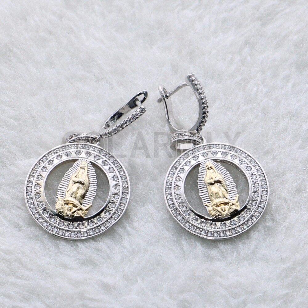 Micro pave zircon Round earrings high quality wholesale jewelry earrings with Portrait Fashion metal zircon earrings3850