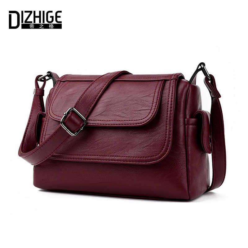 54526ebe095e DIZHIGE бренд 2017 Весна Лето Модные сумки через плечо тонкие сумки на  плечо женские сумки из