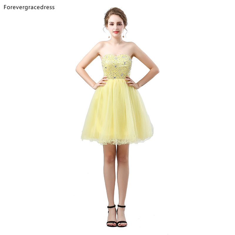 Forevergracedress Yellow Short   Cocktail     Dresses   A Line Sweetheart Tulle Sleeveless Girls Party Gowns Plus Size Custom Made