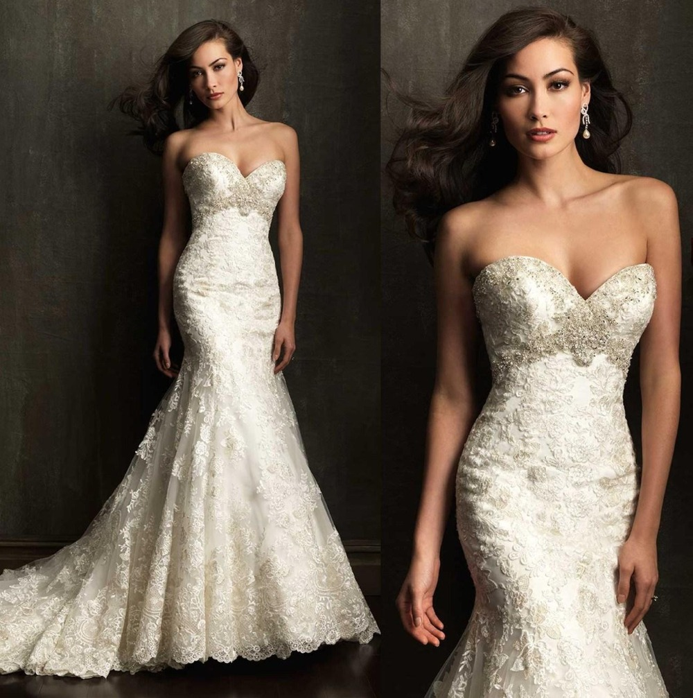 Lace Backless Mermaid Wedding Gown: Vintage 2016 Sweetheart Lace Mermaid Wedding Dresses For