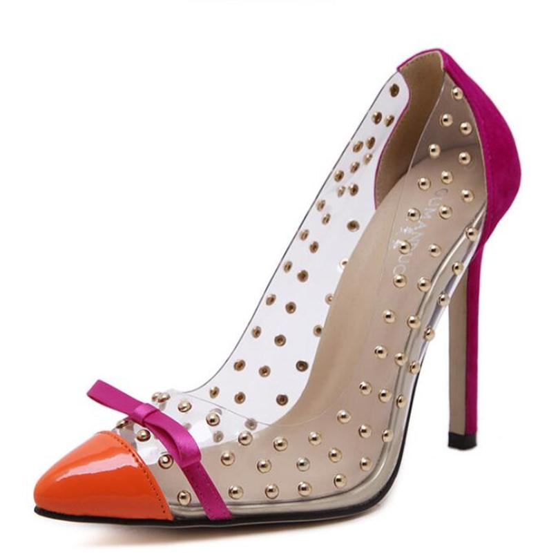 Rivets high heels 2016 summer new transparencies high heels brand shoes pointed toe women pumps sapato