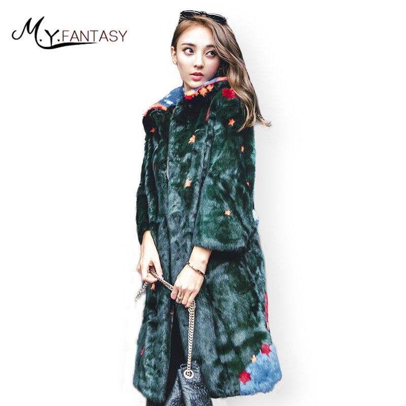 M. Y. FANSTY 2019 hiver chaud imprimer étoile arbre manteau de vison de femmes couleur de contraste réel manteau de fourrure col rabattu longue perte manteaux de vison