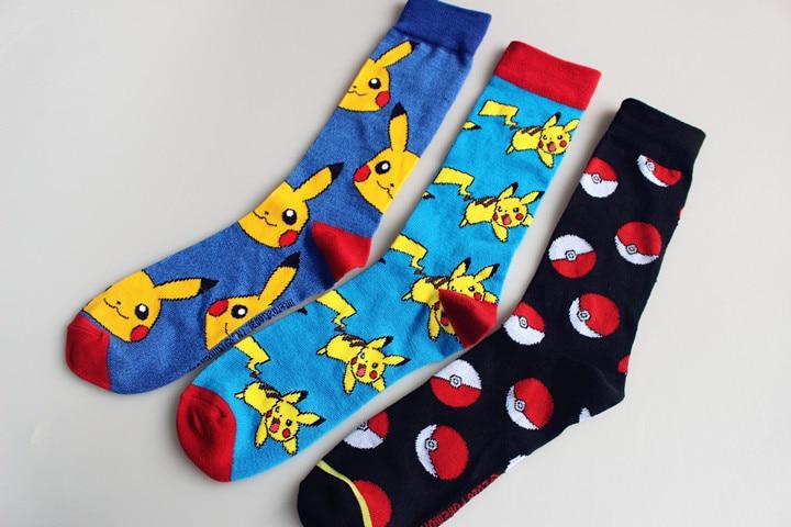 Cartoon Anime Pocket Monster Pikachu Knee-High Socks Cosplay Pokemon Cotton Calf Sock Poke Ball Antiskid Sports Casual Socks