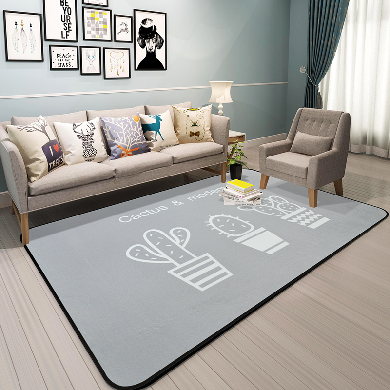 Simple fashion the cactus carpet Nordic bedroom living room carpet grey style soft sofa rug children play home bed decoration