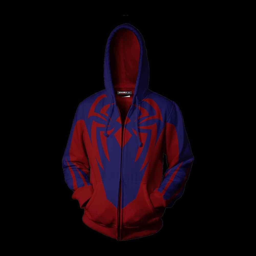 Sudadera con capucha 3D Spider-Man Zip Up sudaderas con cremallera de manga larga Hombre Mujer máscara Spiderman SpiderHoodie Cosplay sudadera chaqueta