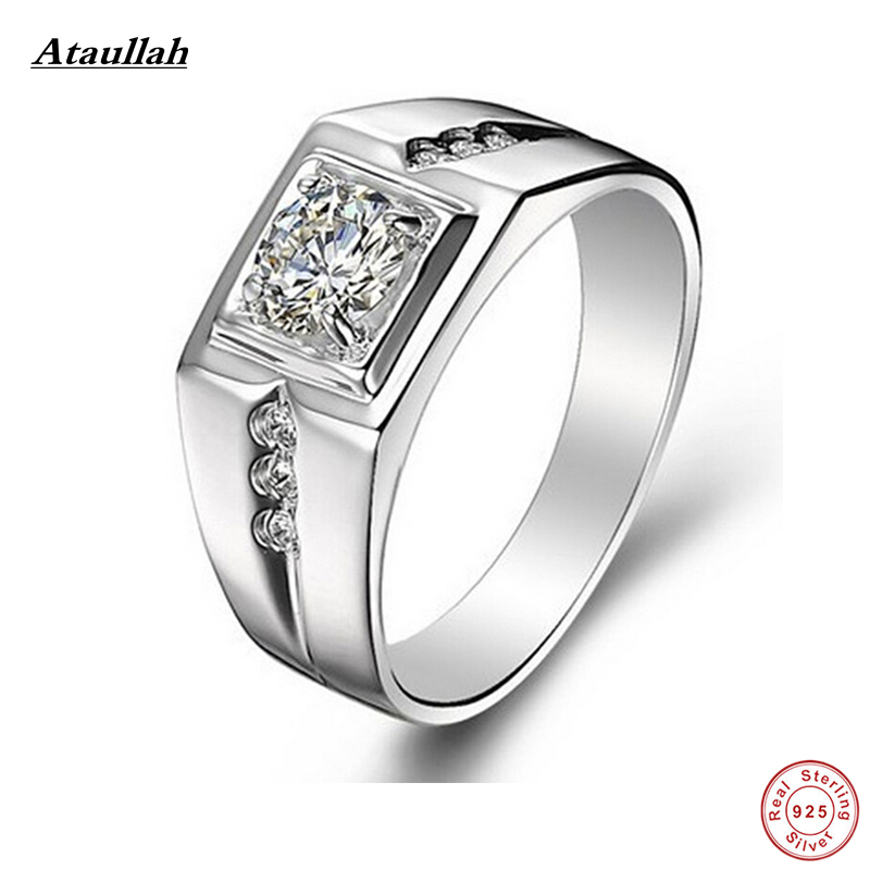 Ataullah Brand 925 Sterling Silver Trendy Man Wedding Rings For Men Fine Silver 925 Jewelry Sona Ring Big Size RMD015-1