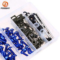 POSSBAY 6Colors Motorcycle Fairing Bolts Kit Screws Motorbike Windscreen Screw Nuts With Plastic Box Universal for Harley Honda