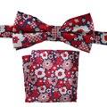 A medida Smith Natural diseñador de seda de lujo Bowtie Hanky Set Red Floral Bow Tie a juego Pocket Square moda Casual para hombre corbatas