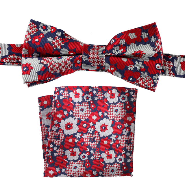 6992784b44f1 Tailor Smith Natural Silk Designer Fancy Bowtie Hanky Set Red Floral Bow Tie  Matching Pocket Square