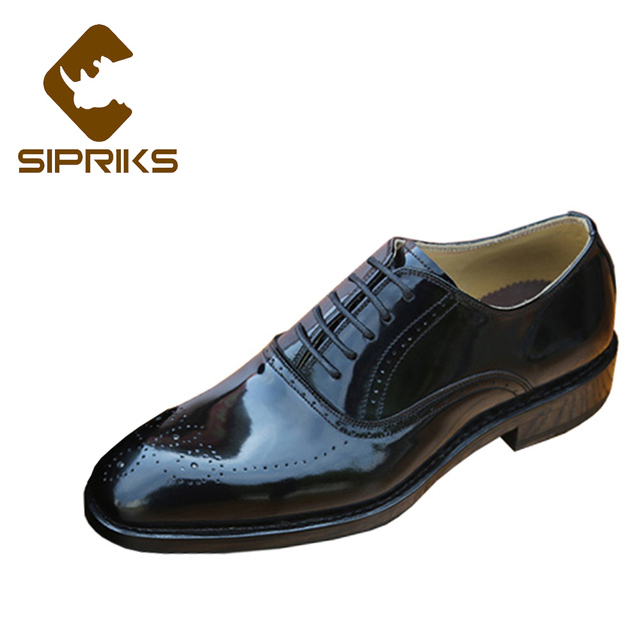 Sipriks Mens Patent Leather Black Brogue Shoes Italian Handmade Goodyear  Welted Dress Shoes Male Shiny Shoes European Big Size 3d924cae8e74