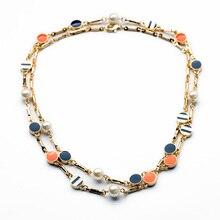 Fashion Long Design New Vintage Accessories Women Retro Enamel Crystal Long Necklace Women