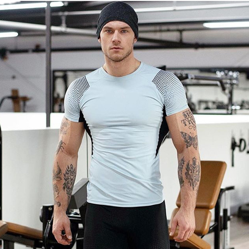 Summer Quick Dry Slim Fit Tees Men Patchwork   T  -  Shirts   Compression   Shirt   Tops Bodybuilding Fitness workout Short Sleeve   T     Shirt