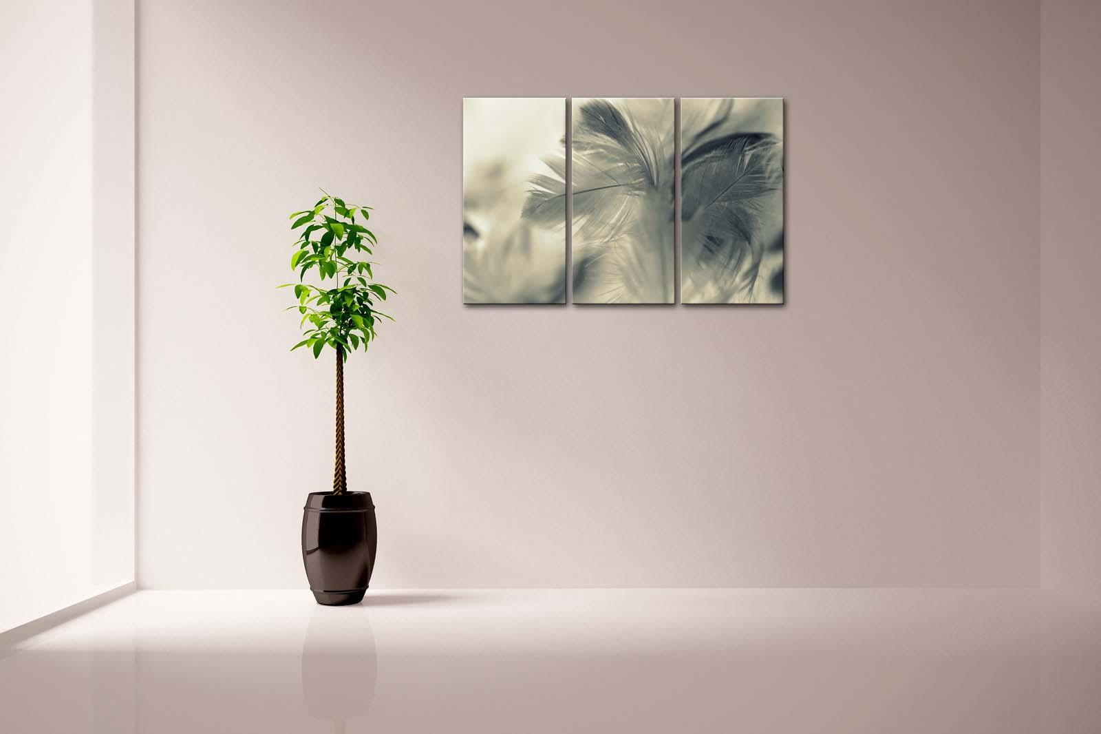 Encadrée mur Art photos gris plume toile impression Art moderne affiche avec cadre en bois pour salon maison bureau décor - 3