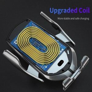 Image 4 - 자동 클램핑 자동차 무선 충전기 아이폰 X XS 삼성 S10 적외선 유도 10W Qi 무선 충전기 자동차 전화 홀더
