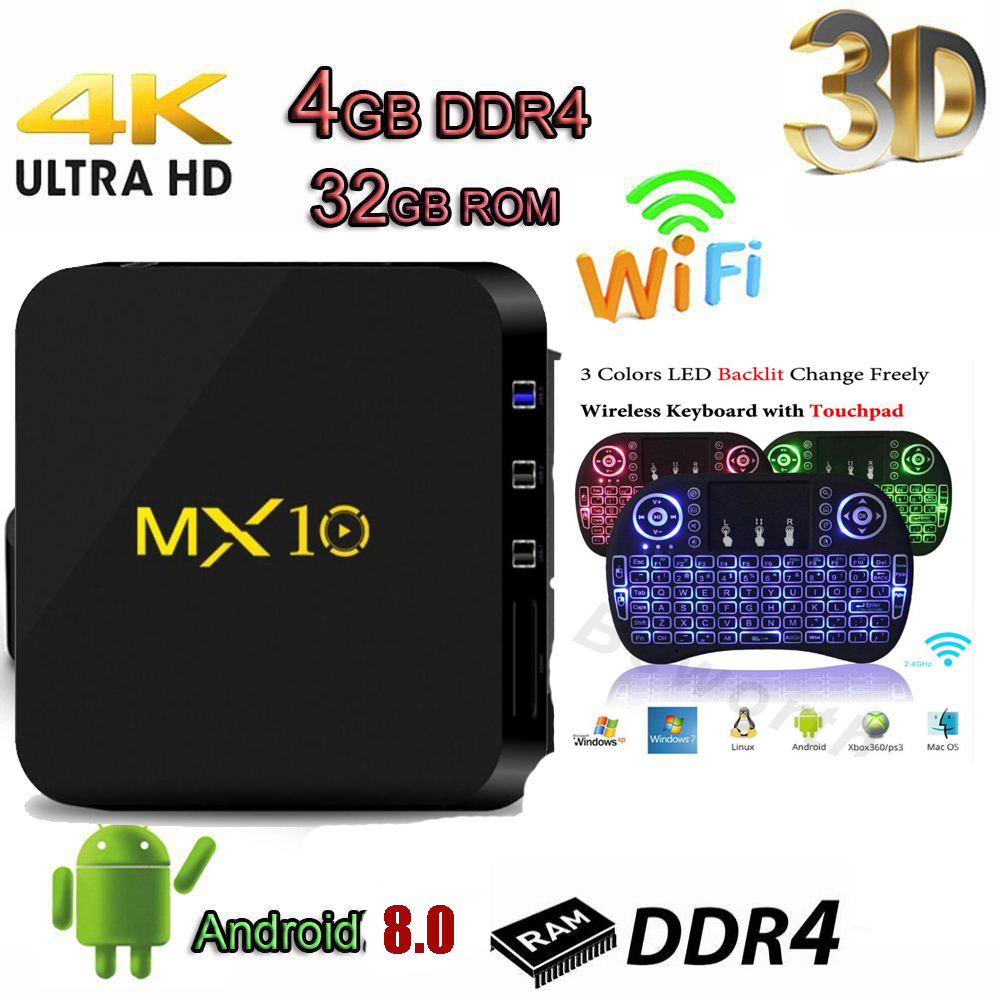 MX10 TV Box Android 8.1 optional keyboard DDR4 4GB 32GB KoD18.0 RK3328 Quad Core 64bit usb3.0 mx 10 vs h96 pro x96 mini