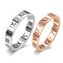 Lucky Digital Ring Rome Titanium Steel Couple EJ115
