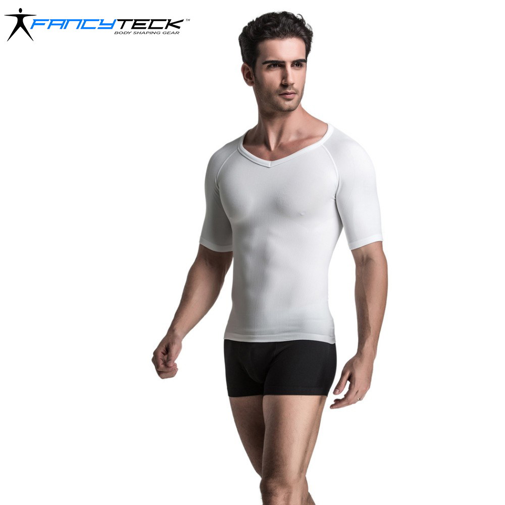 Comfortable Mens Tight Body Shaper Short Sleeve Classic Undershirt Compression Sleeve Low V-Neck Correct Posture Body Underwear