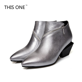 THIS ONE Women genuine leather Pointed Toe zip irregular Square heels ankle boots Woman Winter Boots silver black 34-39