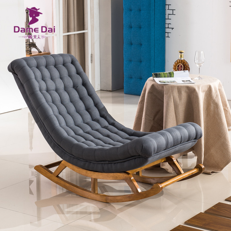 Modern Design Rocking Lounge Chair Fabric Upholstery and Wood For - Furniture