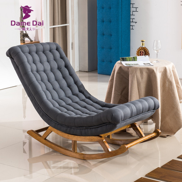 Modern Design Rocking Lounge Chair Fabric Upholstery and Wood For ...