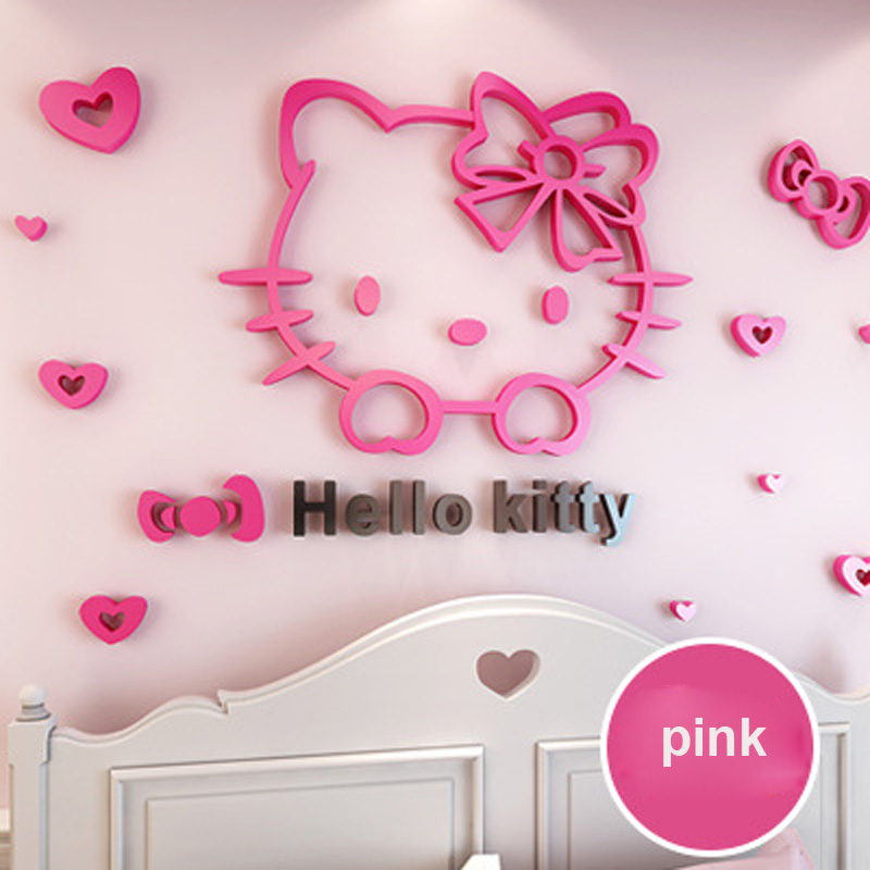 50 30cm Diy 3d Hello Kitty Cat Wall Stickers For Kids Rooms Bedrooms Acrylic Lovely