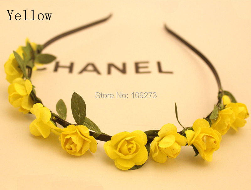 Bohemia bridal fabric flowers hairbands headbands for women rosette flowers crown garland wedding party hair accessories