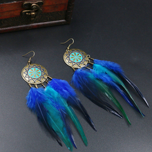 Boho Earrings Dangle Feather Earring Cool Gift Vintage Handmade Long Drop Earrings Indian Jewelry pendientes bijuteria bijoux