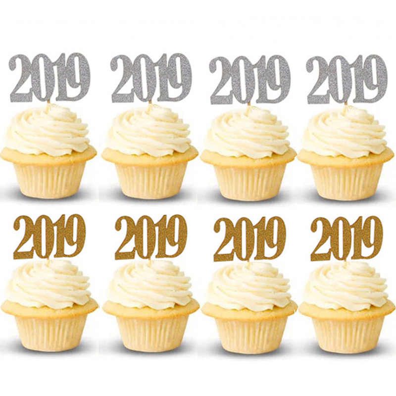 Christmas Cake Toppers.12pcs Christmas Cake Decoration Cupcake Topper Gold 2019 New Year Eve Party Supplies Toppers Picks Navidad 2018 Noel Ornaments