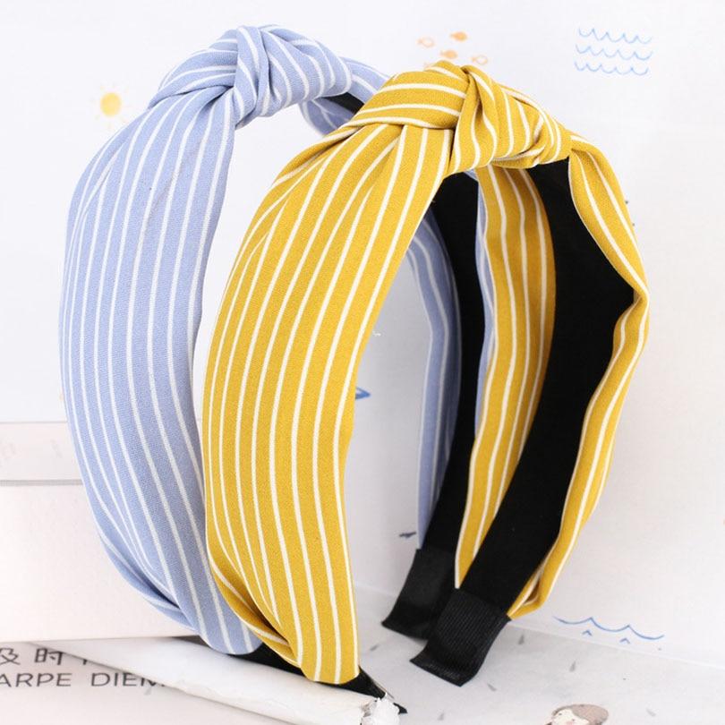 Haimeikang Women Stretch Twist Headband Striped Hairbands Sport Yoga Head Wrap Bandana Headwear Hair Accessories 2018 New