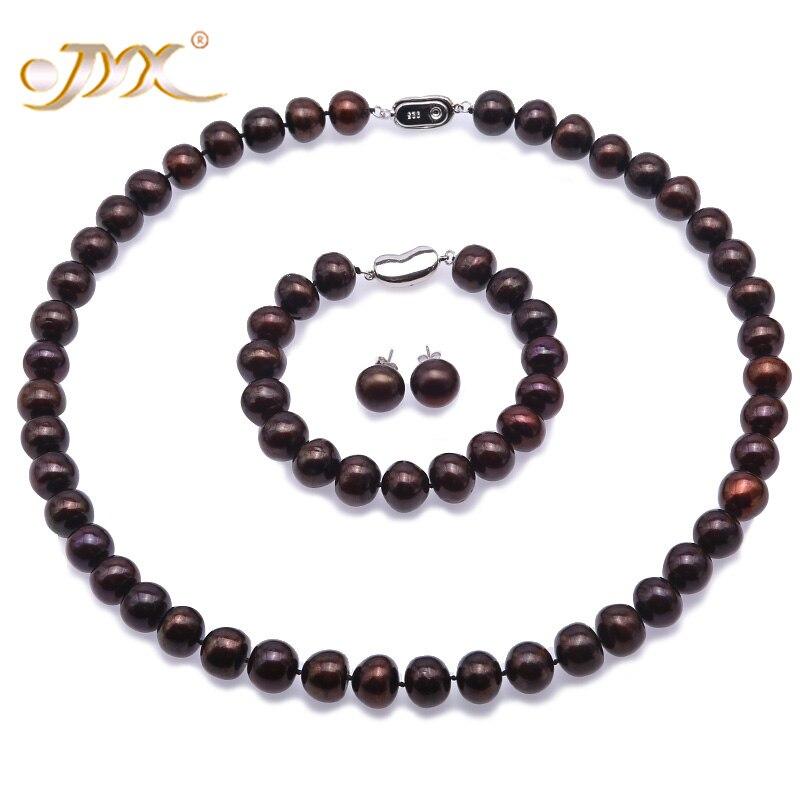 """JYX Pearl Jewelry Set-Big Size 10.5-11.5mm Flat Coffee Freshwater Pearl Necklace 925 Sterling Silver Earrings Bracelet 19""""/7.5"""