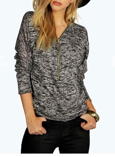 V-neck chest zipper design blusas mujer 2016 autumn fashion long sleeve shirt women blouse femme large size S-XL