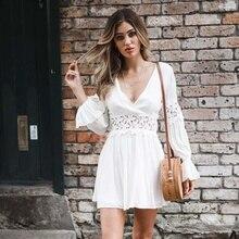 ZOGAA Women Summer Boho White Beach Dress Ladies V Neck Long Sleeve Hollow Out Bohemian Evening Party Mini Sundress