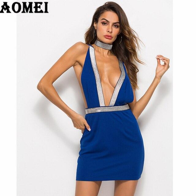 4e1824b361 Seksowna sukienka głębokie V Neck Backless Clubwear Party wieczór taniec kobiet  Bodycon sukienki dziewczyny Nightout nosić Slim Mini tunika odzież