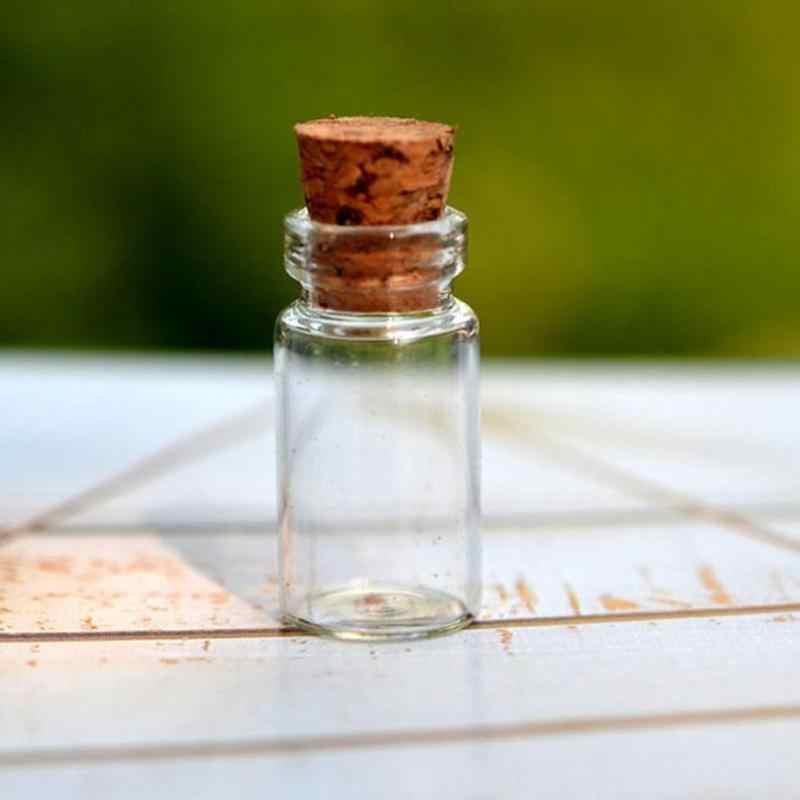 10pcs 1ml มินิขวดแก้ว Vials ตัวอย่าง Jars กับจุกขวดแก้วข้อความขวด Vial งานแต่งงาน WISH ขวด MS193
