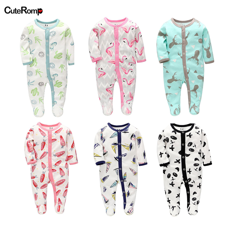 0-6M New Born Baby Girl Clothes Fashion Infant Full Sleeve Footies For Boys Girls Jumpsuit Clothing Newborn Clothes Baby Onesie