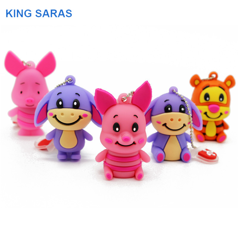 KING SARAS 64GB  4GB 8GB 16GB 32GB Cute Mini Pig Cub Tiger Model Usb Flash Drive Usb 2.0  Pendrive