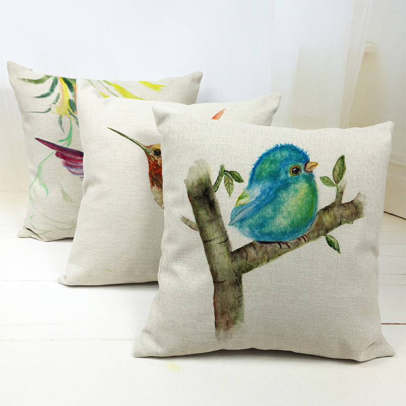 Pastoral Hummingbird Linen Cotton Pillow Case Cover Printed Small Bird Plants Cushion Covers Chair Home Decor Camping Wholesaler